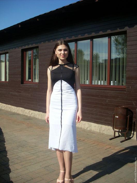 """Платья ручной работы. Ярмарка Мастеров - ручная работа. Купить Платье """" Дуэт"""". Handmade. Чёрно-белый, Платье нарядное"""