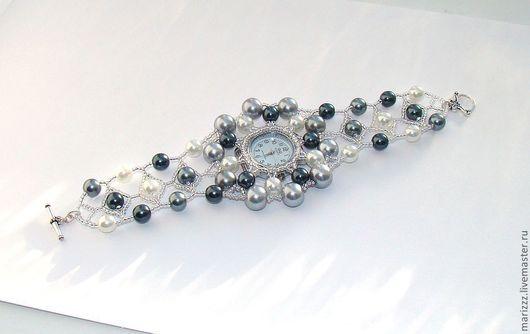 """Часы ручной работы. Ярмарка Мастеров - ручная работа. Купить Ажурный браслет-часы """"Серебро"""" модель 2. Handmade."""