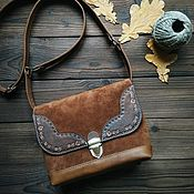 Сумки и аксессуары handmade. Livemaster - original item Bag made of genuine leather and suede in the style of boho cinnamon. Handmade.