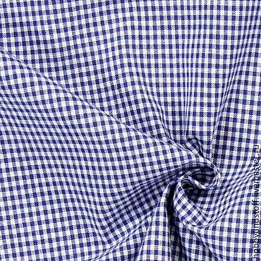 Материалы для творчества ручной работы. Ярмарка Мастеров - ручная работа Немецкий хлопок клетка koenigsblau. Handmade.