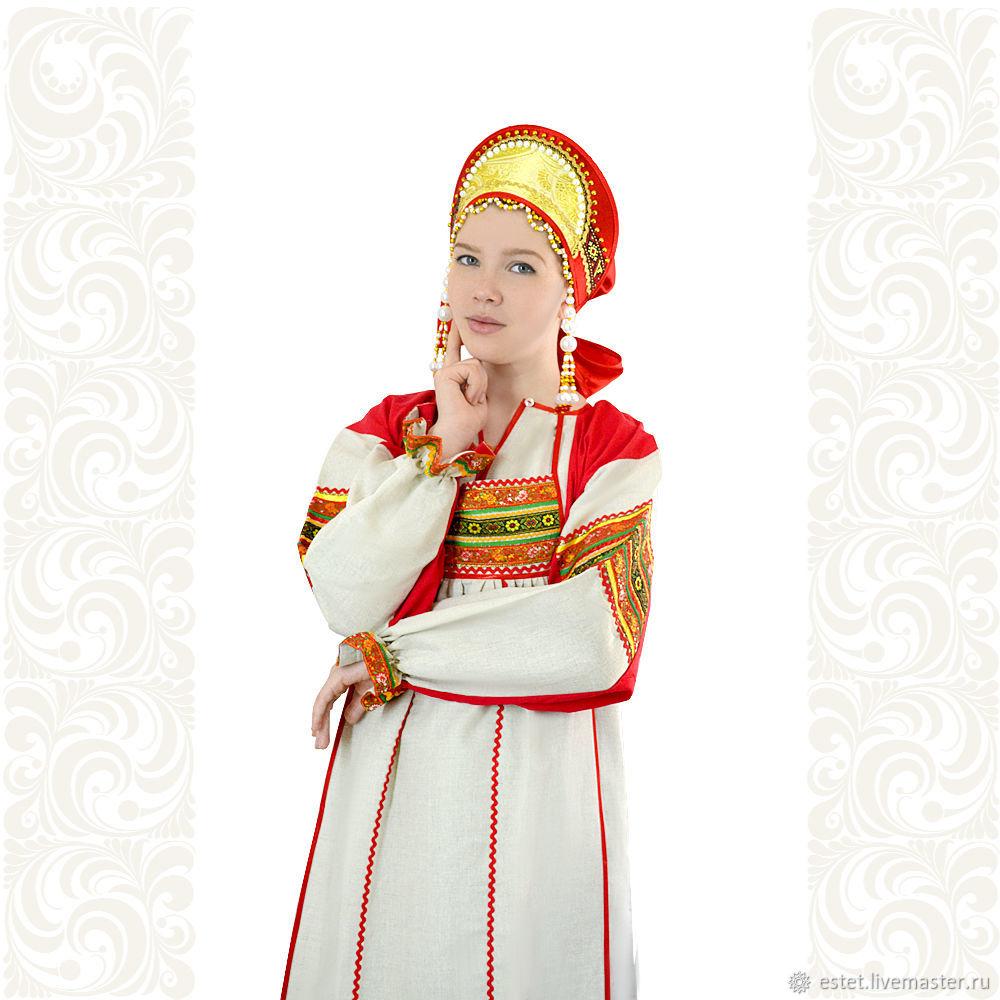 """Рубаха с фартуком """"Варвара"""",лен, Народные платья, Королев,  Фото №1"""