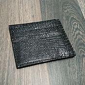 handmade. Livemaster - original item Cartholder made of genuine monitor lizard leather, in black!. Handmade.