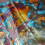 """Аксессуары ручной работы. Ярмарка Мастеров - ручная работа Шелковый платок """"Райский попугай"""". Handmade."""