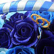 Цветы и флористика ручной работы. Ярмарка Мастеров - ручная работа Корзинка с цветами в синем. Handmade.
