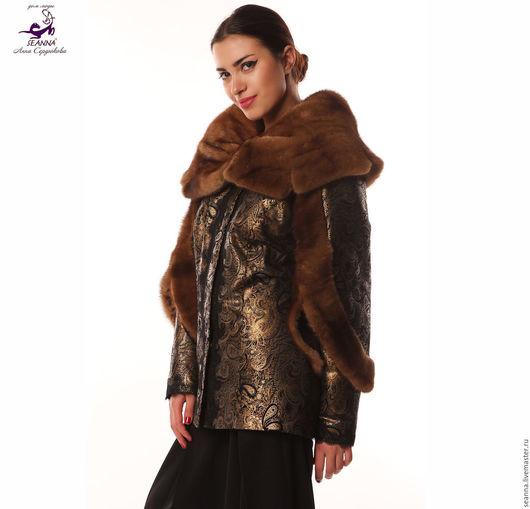 Верхняя одежда ручной работы. Ярмарка Мастеров - ручная работа. Купить Куртка утепленная из узорчатой золотой кожи и натурального меха. Handmade.