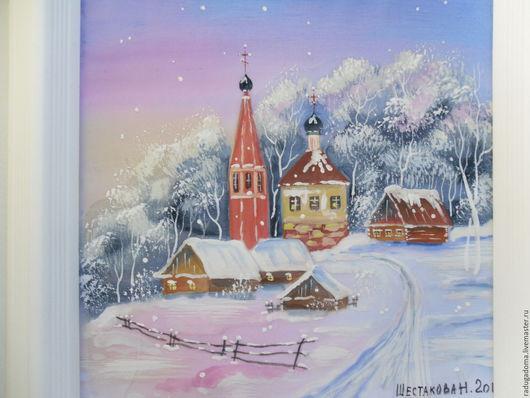 Пейзаж ручной работы. Ярмарка Мастеров - ручная работа. Купить Картина. Зима. Картина на шелке.. Handmade. Картина, картина в подарок