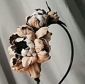 Украшения ручной работы. Ярмарка Мастеров - ручная работа Цветочный обруч для волос - цветы из кожи. Handmade.