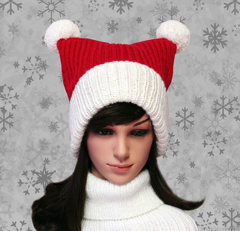 Lapel hat with Santa cat ears, Caps, Orenburg,  Фото №1