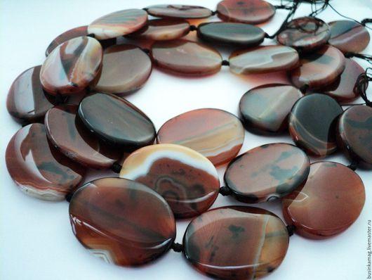 Для украшений ручной работы. Ярмарка Мастеров - ручная работа. Купить Агат крупные овальные бусины камни 42-43мм. Handmade.