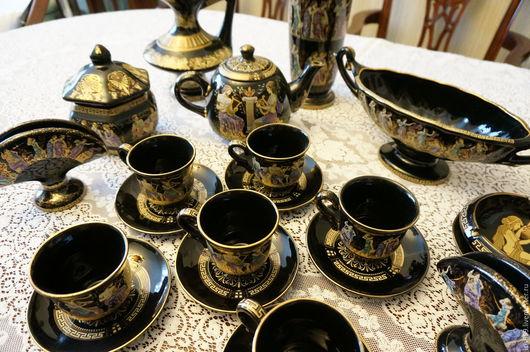 """Винтажная посуда. Ярмарка Мастеров - ручная работа. Купить Чайный набор для 6 п. """"Греческий мотив"""" 24K GOLD.. Handmade."""