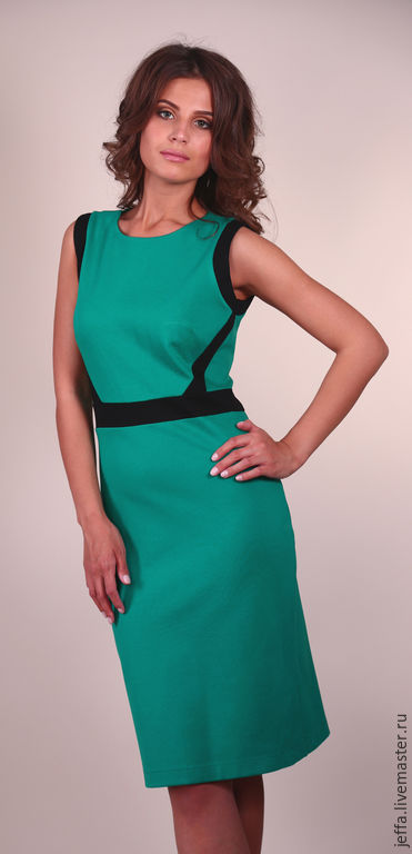 Платья ручной работы. Ярмарка Мастеров - ручная работа. Купить Платье из джерси арт.5337. Handmade. Зеленый, офисный стиль