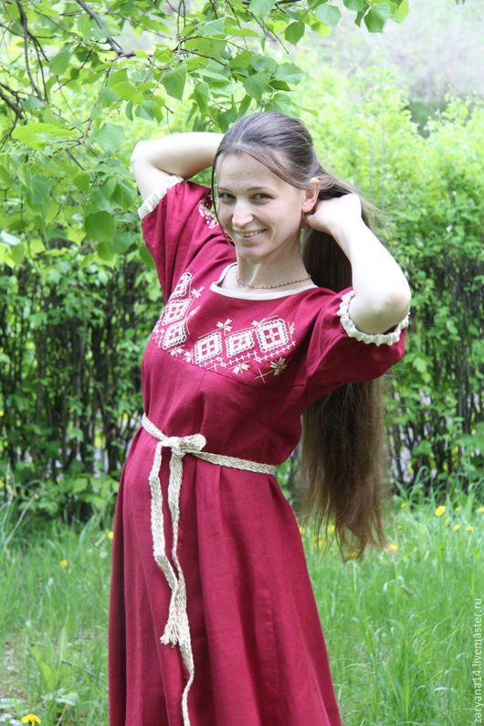 """Платья ручной работы. Ярмарка Мастеров - ручная работа. Купить платье """"Бордовое с орнаментом"""". Handmade. Бордовый, льняное платье"""