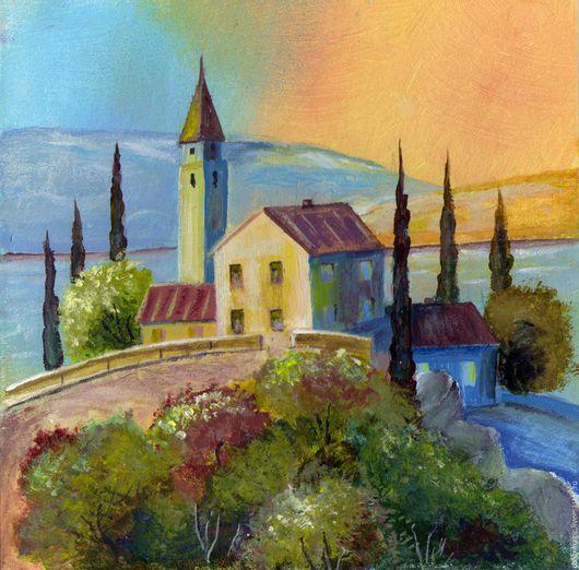 Город ручной работы. Ярмарка Мастеров - ручная работа. Купить Картина яркий морской пейзаж Курортный городок. Handmade. Комбинированный
