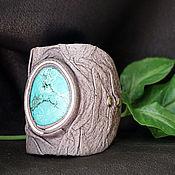 handmade. Livemaster - original item Leather bracelet with chrysocolla. Handmade.