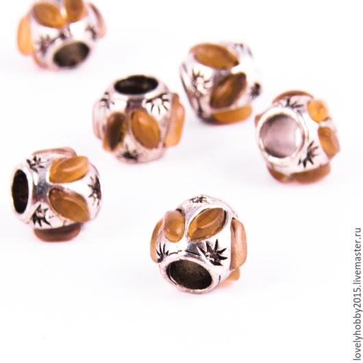 Бусины в стиле Пандора из металла с камнем тигровый глаз
