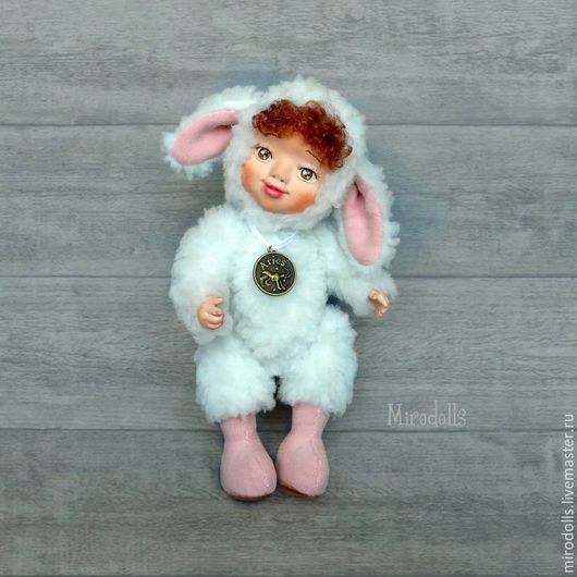 Коллекционные куклы ручной работы. Ярмарка Мастеров - ручная работа. Купить Барашек тедди долл. Коллекционная игрушка кукла.. Handmade.