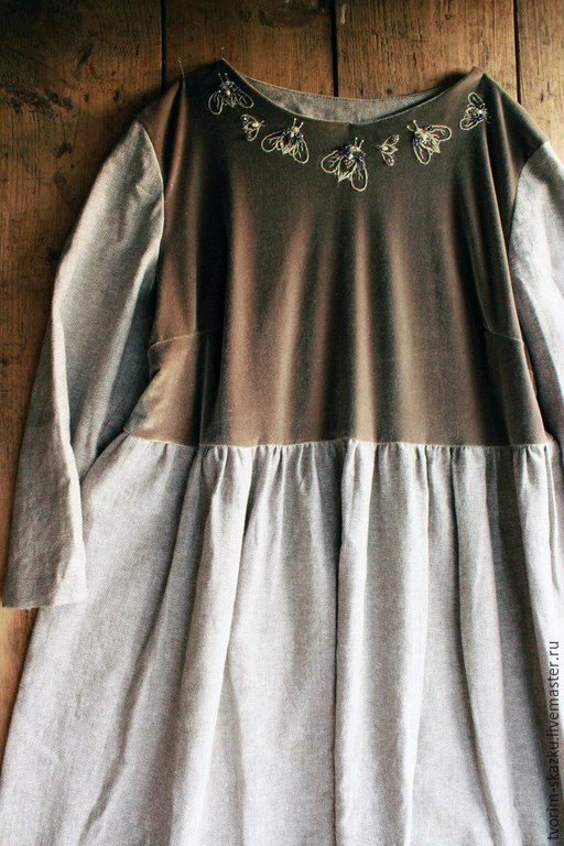 """Платья ручной работы. Ярмарка Мастеров - ручная работа. Купить Платье """"Мерцание"""". Handmade. Коричневый, свободное платье, вышитое платье"""