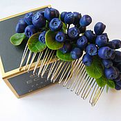 """Подарки к праздникам ручной работы. Ярмарка Мастеров - ручная работа """"Черничное искушение"""" гребень для волос. Handmade."""