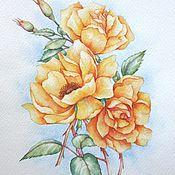 """Картины и панно ручной работы. Ярмарка Мастеров - ручная работа Рисунок """"Желтые розы"""". Handmade."""