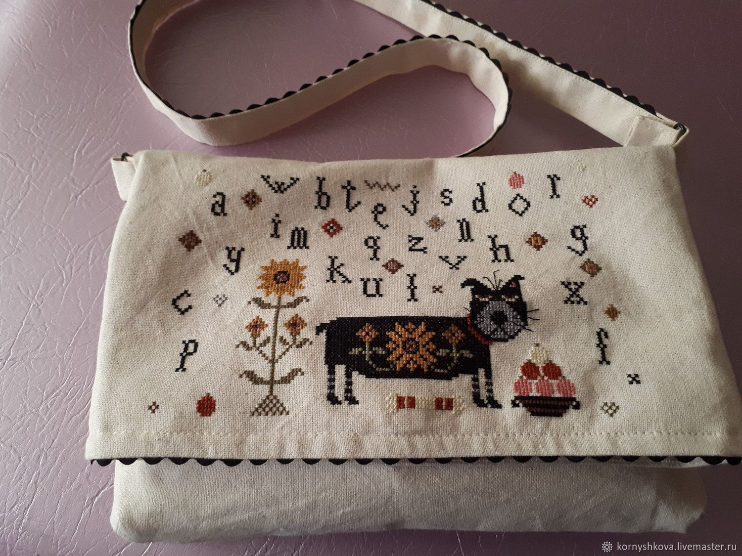 Bag Textile With Hand Embroidery Without The Cat And Not The Life