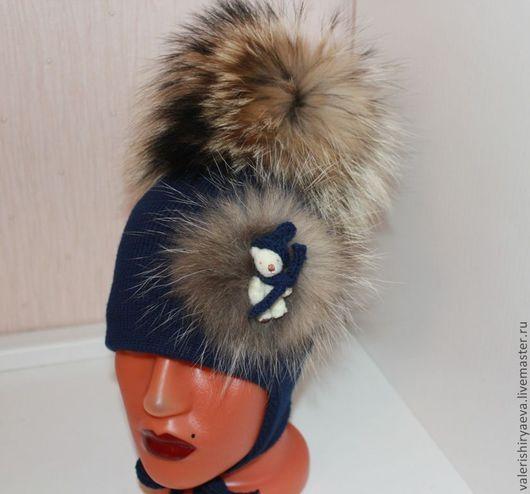 Шапки и шарфы ручной работы. Ярмарка Мастеров - ручная работа. Купить Зимняя шапочка  Синее небо. Handmade. Тёмно-синий