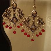 Украшения ручной работы. Ярмарка Мастеров - ручная работа Серьги-люстры, красный бисер, индийский стиль. Handmade.