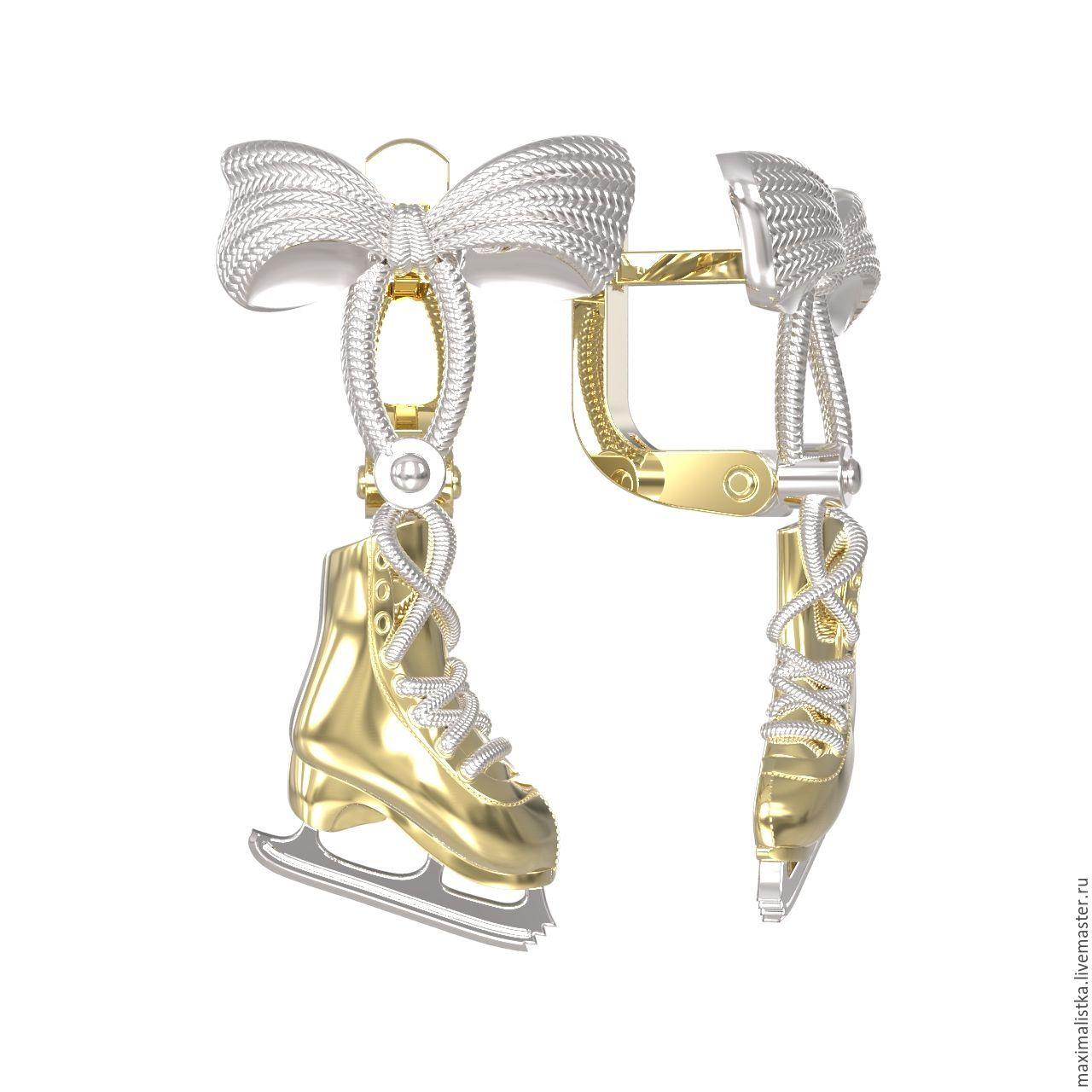 Earrings Handmade Livemaster Gold Skates Skater