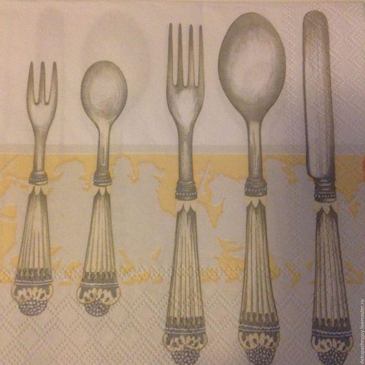 Салфетка для декупажа -Столовые приборы: ложки, вилки и ножи Декупажная радость