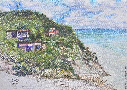 Пейзаж ручной работы. Ярмарка Мастеров - ручная работа. Купить рисунок карандашами Поселок у маяка. Handmade. Берег моря, маяк