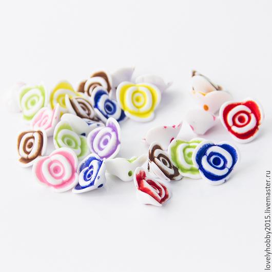 разноцветные пластиковые бусины РОЗОЧКИ