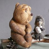 """Куклы и игрушки ручной работы. Ярмарка Мастеров - ручная работа Межвежонок из мультика """"Ежик в тумане"""" . Медведь игрушка валяная. Handmade."""