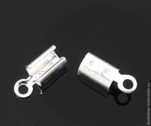Зажимы-концевики посеребрённые 8 мм х 3 мм