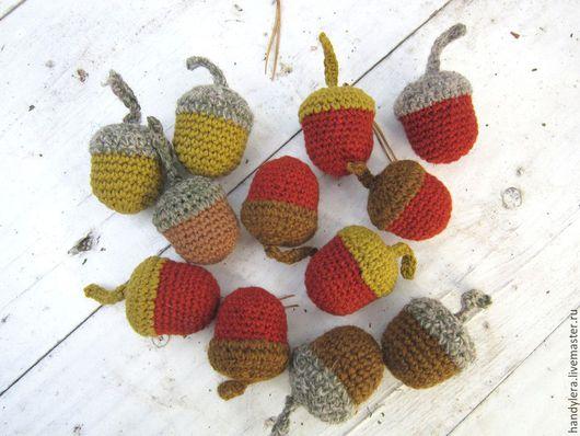 Другие виды рукоделия ручной работы. Ярмарка Мастеров - ручная работа. Купить желудь вязаный. Handmade. Коричневый, осенний декор