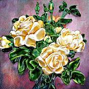 Картины и панно ручной работы. Ярмарка Мастеров - ручная работа Объемная картина Желтые розы, вышивка лентами, смешанная техника. Handmade.