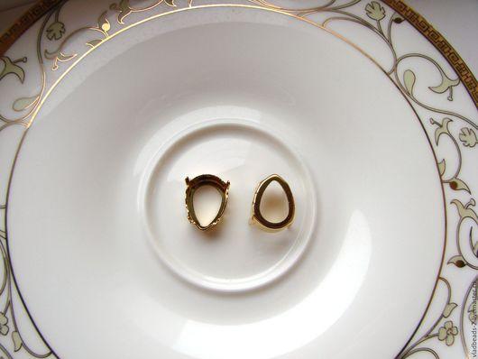 Для украшений ручной работы. Ярмарка Мастеров - ручная работа. Купить Оправа для Капли Swarovski 18х13мм с покрытием золото. Handmade.