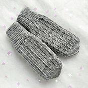 Аксессуары handmade. Livemaster - original item Grey Mittens knitted women`s winter Double mittens. Handmade.