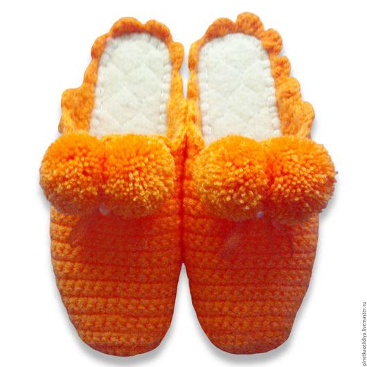 """Обувь ручной работы. Ярмарка Мастеров - ручная работа. Купить Вязаные тапочки """"Здравствуй,лето"""".. Handmade. Рыжий, тапочки домашние"""