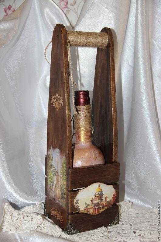 Кухня ручной работы. Ярмарка Мастеров - ручная работа. Купить Короб для бутылки. Handmade. Комбинированный, деревянный короб, кухонный декор