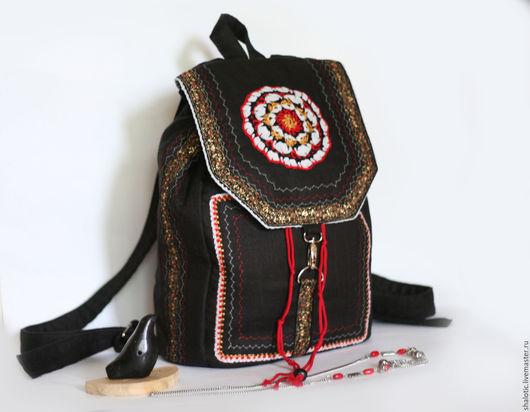 Льняной рюкзак, рюкзак в стиле бохо, этнический рюкзак, рюкзак для девушки, сумки и рюкзаки ручной работы, автор Юлия Льняная сказка