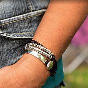 Украшения handmade. Livemaster - original item Bracelet leather unusual two-turn metal silver, boho style. Handmade.