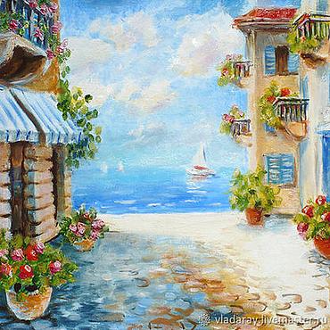 """Картины и панно ручной работы. Ярмарка Мастеров - ручная работа Картина """"Городок у моря"""" холст, масло, оргалит. Handmade."""