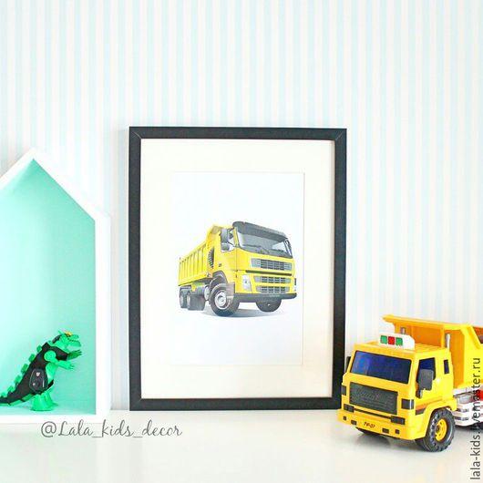 Детская ручной работы. Ярмарка Мастеров - ручная работа. Купить Постер для детской Грузовик. Handmade. Постер, декор для интерьера, грузовик