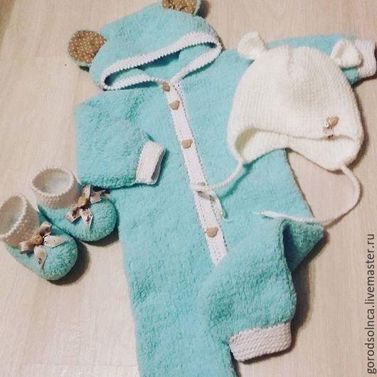 """Для новорожденных, ручной работы. Ярмарка Мастеров - ручная работа. Купить Комплект для новорожденного """"Плюшевый мишка"""". Handmade. Морская волна"""
