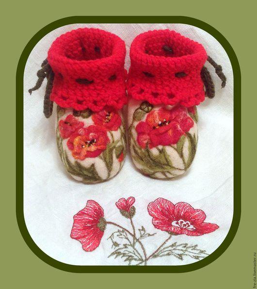 """Обувь ручной работы. Ярмарка Мастеров - ручная работа. Купить Пинеточки """"Песня сердца"""". Handmade. Ярко-красный, пинеточки для деточки"""