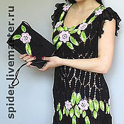 Одежда handmade. Livemaster - original item Tunic dress ROSES on BLACK. Handmade.