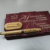 Канцелярские товары handmade. Livemaster - original item Wooden pen and flash drive, gift set, any engraving, design. Handmade.