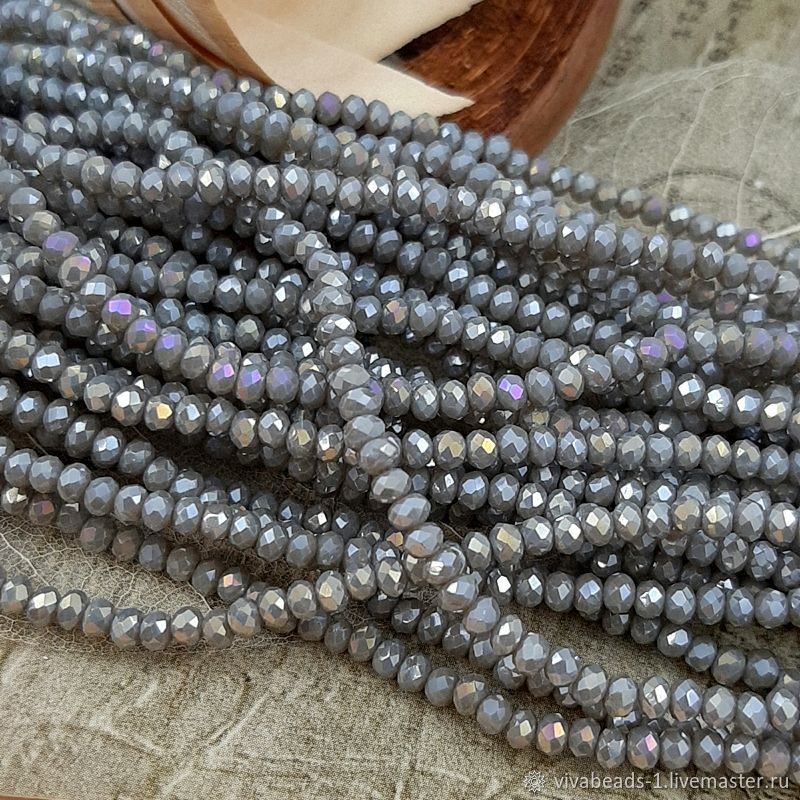 50 PCs. Rondel faceted 3x2 mm gray AB (3722), Beads1, Voronezh,  Фото №1