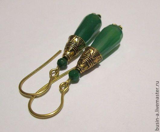 Украшения ручной работы. Серьги - зеленый агат, цвет хризопраз. Ярмарка мастеров.
