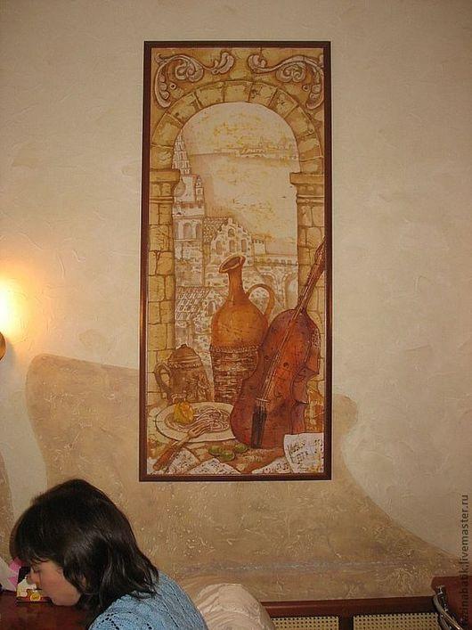 """Натюрморт ручной работы. Ярмарка Мастеров - ручная работа. Купить Кафе """"Сицилия"""". Handmade. Бежевый, сицилия, текстильные краски"""
