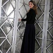 Одежда ручной работы. Ярмарка Мастеров - ручная работа Темно-синяя трикотажная юбка в пол. Handmade.